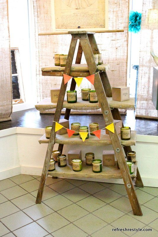 Old Ladders Repurposed For Decorating Ladder Display