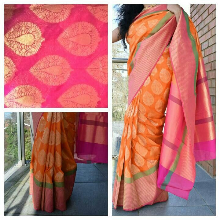 Orange handwoven pure katan silk banarsi saree with magenta all over booti border blouse pc. Free shipping worldwide For queries kindly whatsapp at 00447889562384