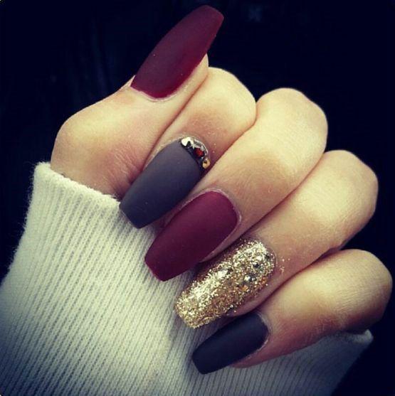 Black Burgundy and Gold Matte Nail Design