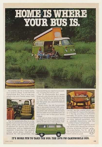 VW Volkswagen Campmobile Home Where Your Bus Is (1978)