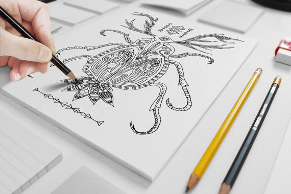 Dear Bug adult coloring page by ZuskaArt on Etsy