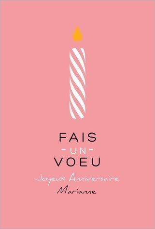 Carte Joyeux anniversaire bougie rose à personnaliser !  Disponible en 4 formats et en 2 coloris à partir de 0.62€ sur Popcarte.com