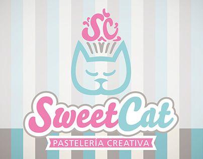 Imagen corporativa para Sweet Cat - Pastelería creativa. Fabricante de dulces personalizados, cupcakes y galletas.