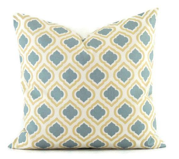 Yellow Pillow, 20x20 Pillow Cover, Decorative Pillow, Designer Pillows, Modern Cushion Cover, Blue Pillow Covers, Curtis Saffron Macon