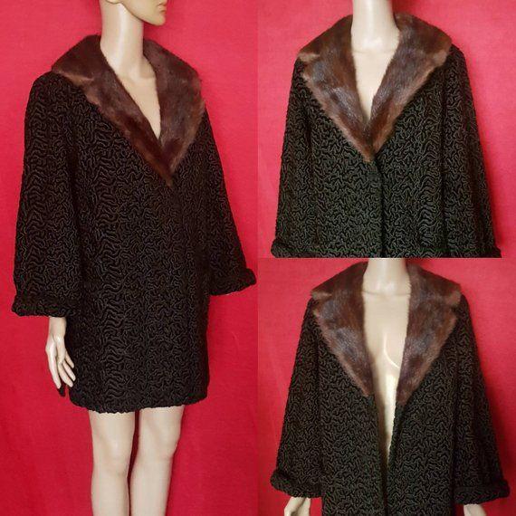 1960s Astrakhan Fur Coat w Mink Collar