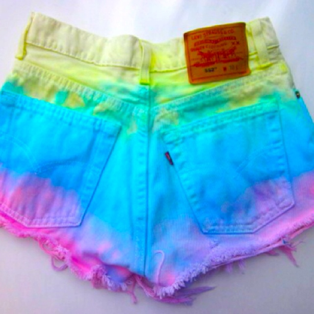 White Shorts, Dips Dyes, Ties Dyes Shorts, Tie Dye Shorts, Tye Dyes, Jeans Shorts, White Jeans, Summer Shorts, High Waist Shorts