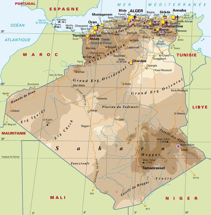 carte de l'Algérie : carte générale