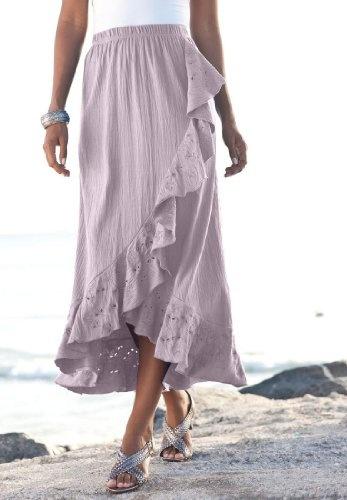 Roamans Plus Size Eyelet Gauze Skirt $39.99