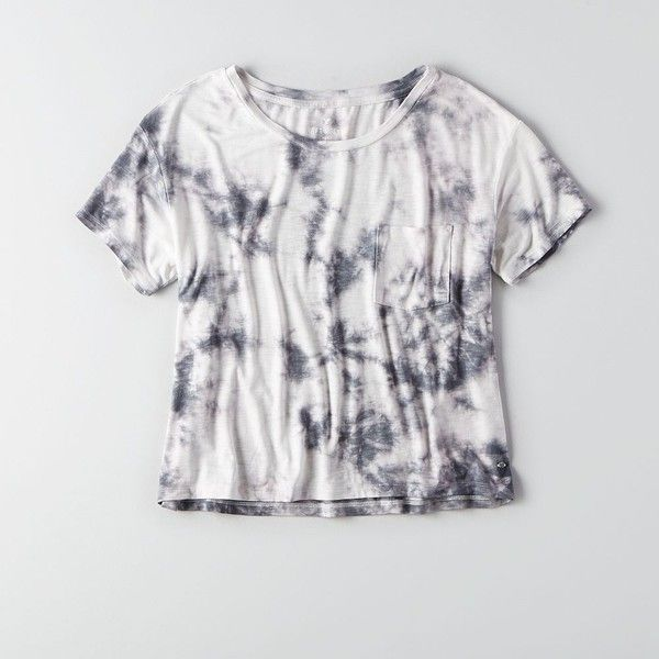 AEO Soft & Sexy Sky High T-Shirt (£17) ❤ liked on Polyvore featuring tops, t-shirts, tiedye t shirts, crew-neck tee, grey tee, crewneck t shirt and boxy t shirt