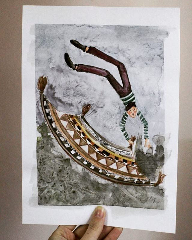 Magic Carpet. Crazy Ride. Watercolours. Patterns and some guy.