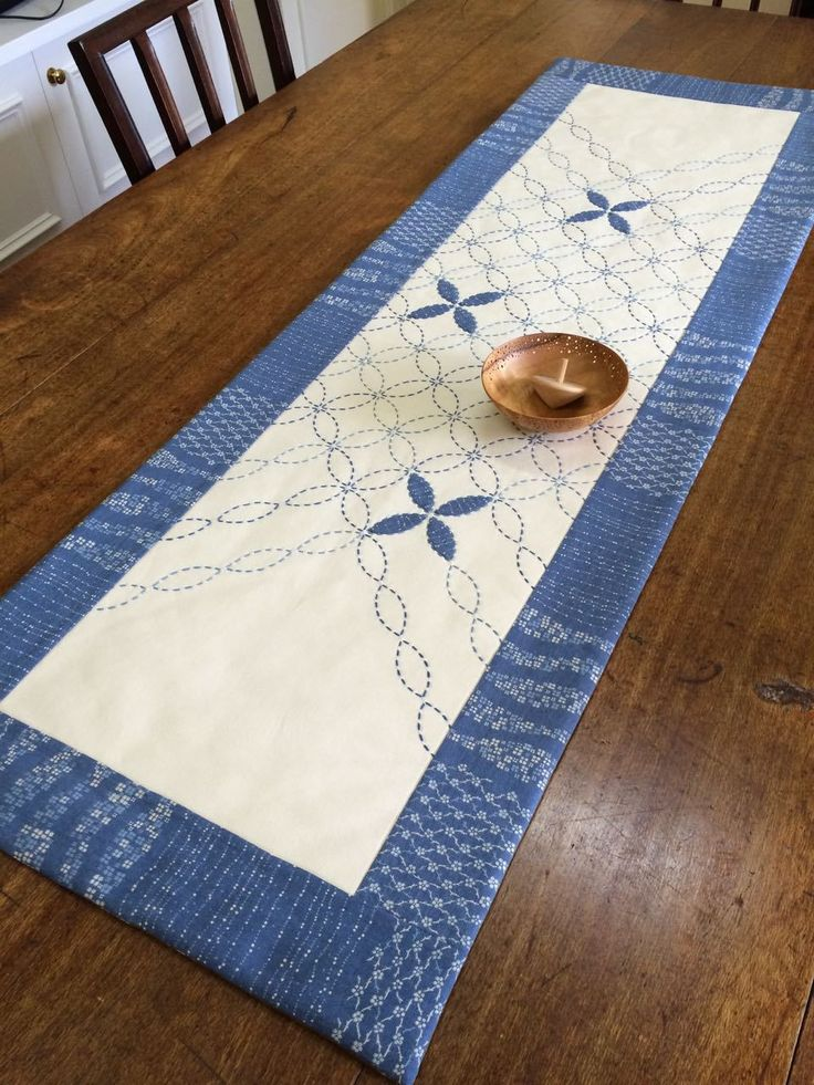 Sashiko and appliqué table-runner from Pre-stencilled fabric