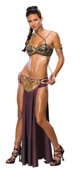 Adult Princess Leia Slave Costume - Star Wars  Always been a fan of Star Wars?  Get this sexy version of Princess Leia.  You'll be the protagonist of the event.  Includes: Top, briefs with skirt and belt, choker and headpieces.
