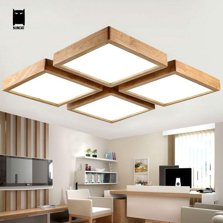 LED Square Oak Wood Acrylic Ceiling Light Fixture Modern Nordic Japan Dimmable Plafon Lamp Luminaria Living