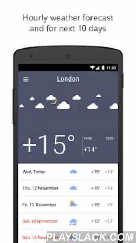 Yandex.Weather  Android App - playslack.com ,  The app shows what the weather will be like in the next 10 days, and gives hourly forecasts for your chosen location.— Add locations to the list of places for which you would like to receive weather information.— Swipe right to know current wind speed or wind direction, atmospheric pressure, humidity, sunset or sunrise times.— Choose from three different widget sizes: 2x1, 4x1, and 4x2.— Share your weather information with Yandex to help us…