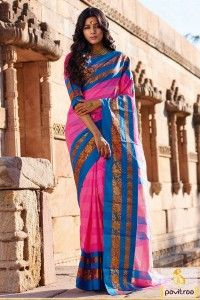 Fancy Blue Pink Cotton Saree for Ladies #saree, #casualsaree more:http://www.pavitraa.in/catalogs/contemporary-cotton-sarees-collection/?utm_source=rn&utm_medium=scoop.itpost&utm_campaign=28jun