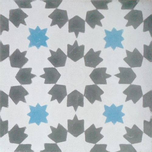 Moorish Style: Mudéjar, design, Authentic Hydraulic Andalusian Tiles for both the floor and wall. MOD-246-A
