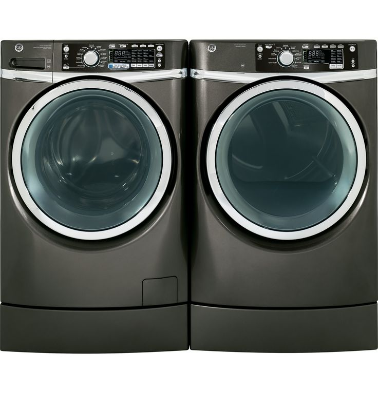 GE's 4805 front-load washer and dryer feature the Right Height pedestal pre-installed. Shown in Metallic Carbon, and are also available in Ruby Red and White.