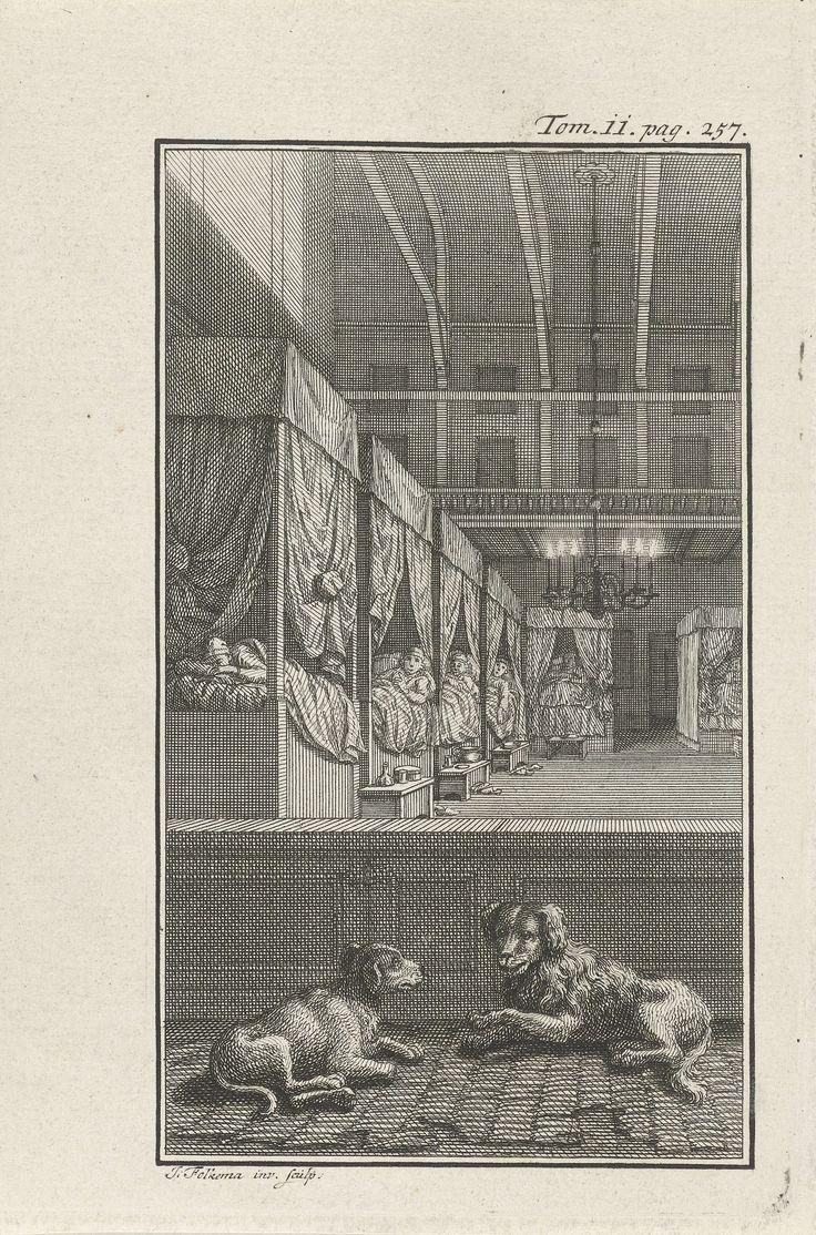 Jacob Folkema | Slaapzaal, Jacob Folkema, 1702 - 1767 | Een slaapzaal waar figuren in slaapkleding in bedden liggen die langs de muur staan opgesteld. Op de voorgrond liggen twee honden. Prent rechtsboven gemerkt: Tom. ii. pag. 257.