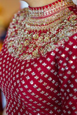 Bridal Details - High Neck Embroidered Red Blouse | WedMeGood  #wedmegood #indianbride #indianwedding #highneckblouse #embroidery #choli #blouse #lehenga