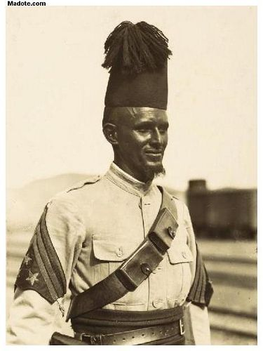 Eritrea - Eritrean Colonial soldier | War tested Eritrean colonial soldier. Photo was taken in 1937.   For more information about the person(s) you are seeing in these old Eritrean photos, then visit www.madote.com