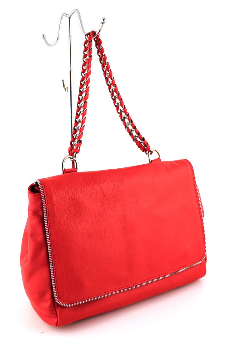Trieste Rosso. Half zipper around the front. Ultra soft leather.