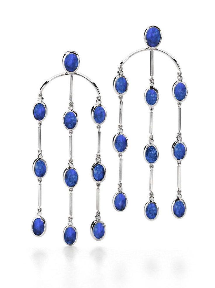 Chandelier Australian opal earrings in 18ct white gold by Giulians