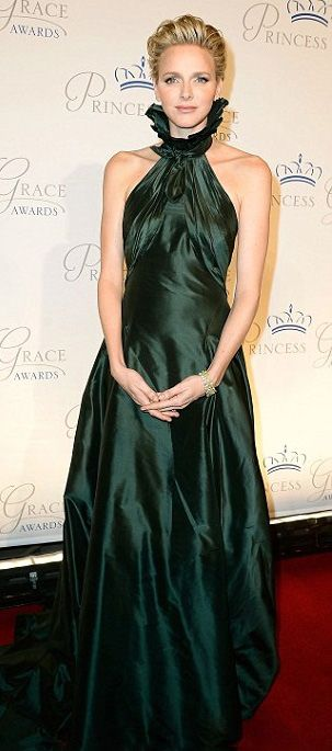 Princess Charlene the South African born stunned in a royal green sleeveless dress which featured an eye catching a high ruffled neck, at the 2013 Princess Grace Awards Gala in New York