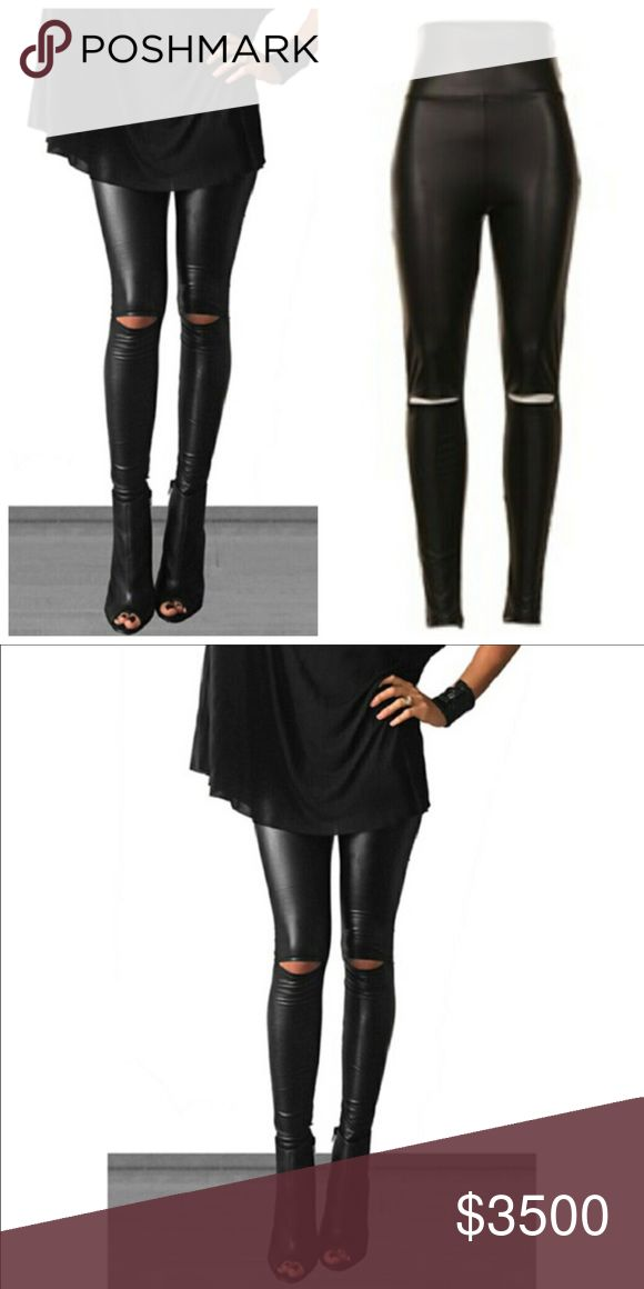 JUST IN❤ Cut-out high waisted shape-wear leggings Cut-out tummy control black high waisted faux leather leggings. Pants Leggings