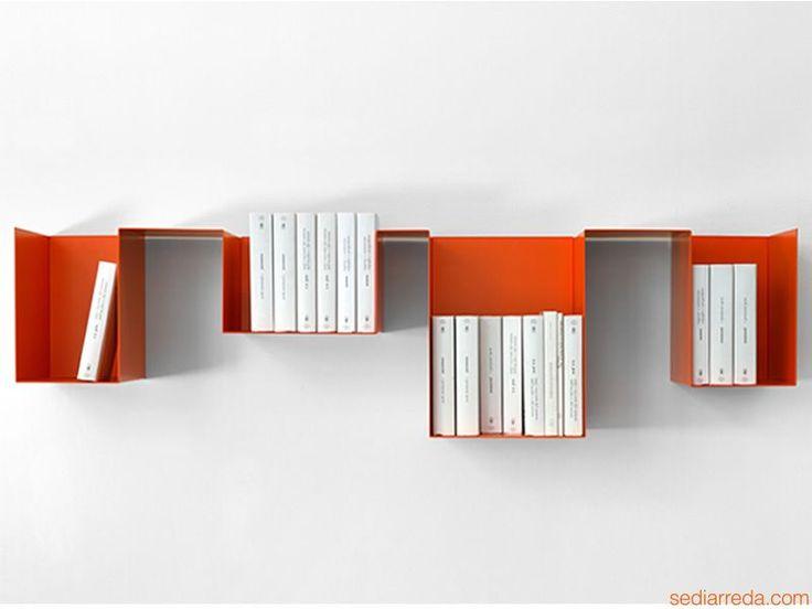 Spread   Variante DX - Mensola e libreria in metallo, color zucca (arancione)
