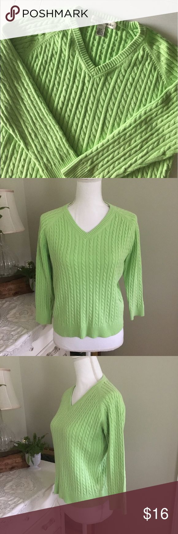"David Brooks Lime Green Cable Knit Sweater This lime green Cable Knit sweater from David Brooks features 3/4 sleeves and a v neckline. Size: Small. Chest: 18"". Length: 21.25"". #0113 David Brooks Sweaters"