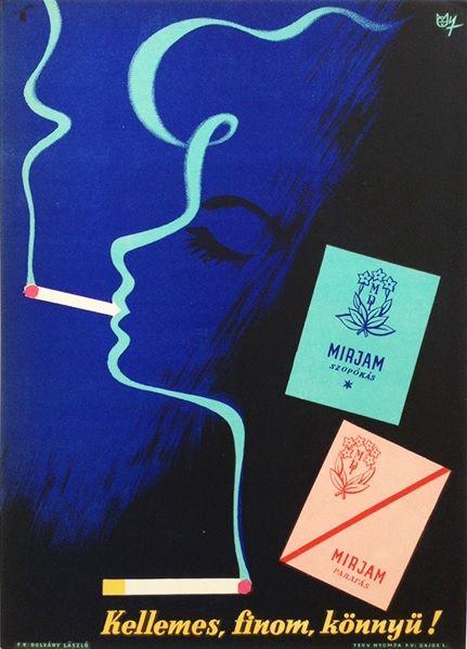 Mirjam cigarettes - Pleasant, tasty and light! (Macskássy, János - late 1950s - cca. 17 x 24 cm) - 240 USD at Budapest Poster Gallery