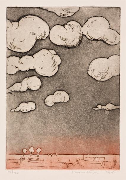 Jan Montyn - Landschap na de regen - Ets - 1986