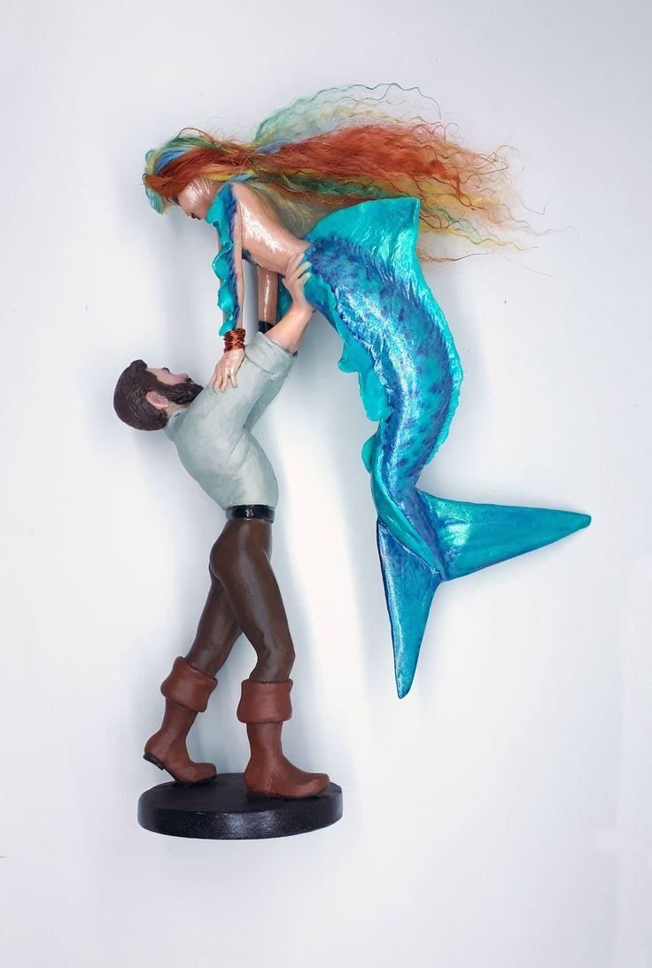 Custom wedding cake topper for sale mermaid tiger shark