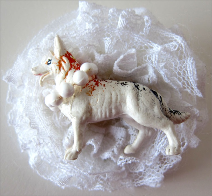 doggy, toy brooch from recycled material