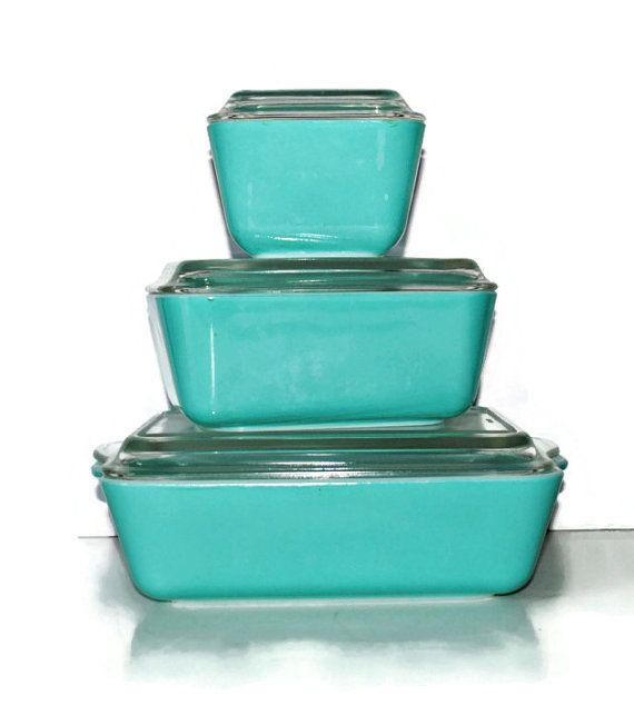 AQUA Pyrex Refrigerator Dishes Refrigerator by BridgetsCollection, $150.00