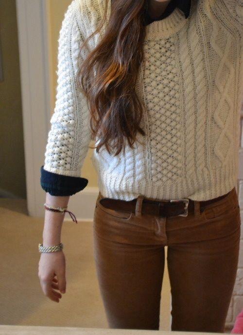 Navy blue shirt + light color knit sweater + corduroys