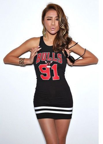 Gender: Women Waistline: Natural Dresses Length: Above Knee, Mini Sleeve Length: Sleeveless Decoration: LA Lakers or BULLS Material: Cotton Women Dress: Party Dress Shipping: FREE - Worldwide!