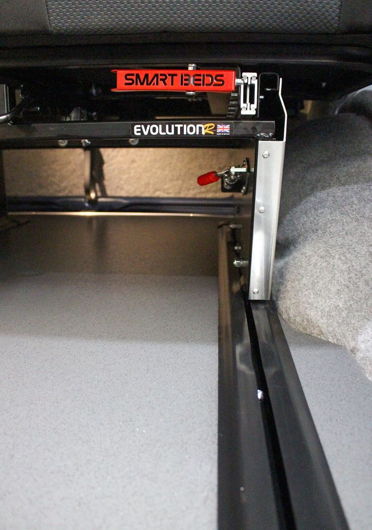 Smartbed rail system uses the VW original rear seat configuration for safe installation