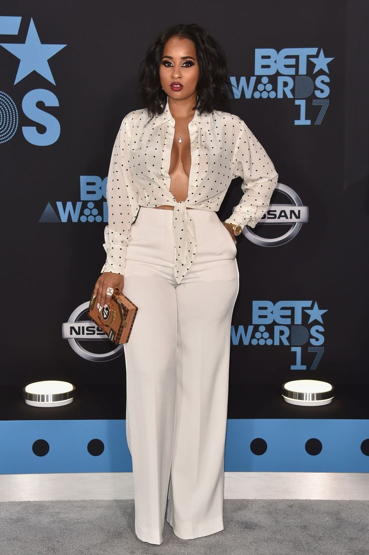 "2017 BET Awards - Arrivals  -  Tammy Rivera  -    Button up for what? ""All These Kisses"" songstress Tammy Rivera kept her curves on full display in this all white ensemble."
