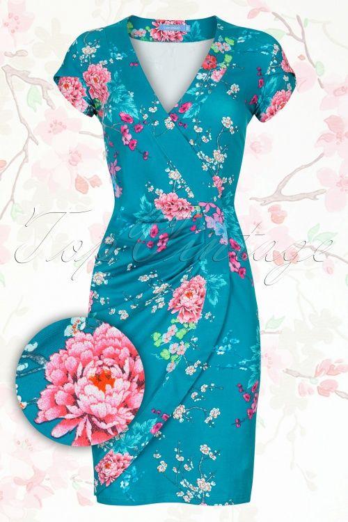 Lien & Giel - 60s Paris Pencil Dress in Poppy Green #mytopvintagewardrobe Artikelnr. 14309