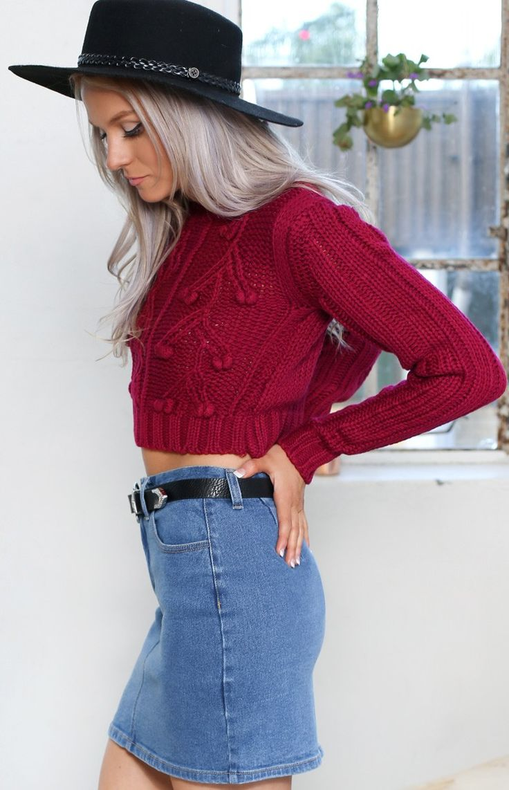 Princeton Knit Crop Jumper Maroon | Beginning Boutique