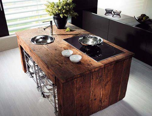 rustic wood island