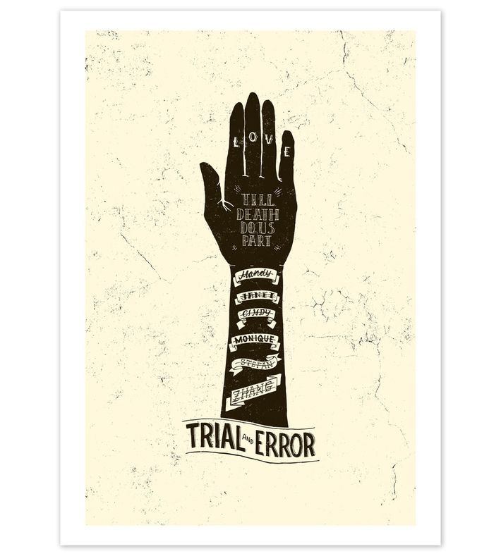 Trial and Error by Rasmus Sjölin. Print is originally hand-drawn and then vectorised and colored. Signed and numbered / Edition of 20. You can buy this piece here: www.artrebels.com #artrebels #blackandwhite #art