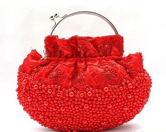 Red-Charming-Beaded-Wedding-Bridal-Prom-Clutch-Purse-evening ... #clutch #handbag #eveningbag