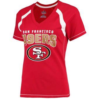 Women's San Francisco 49ers Majestic Scarlet Plus Size Game Day V-Neck T-Shirt