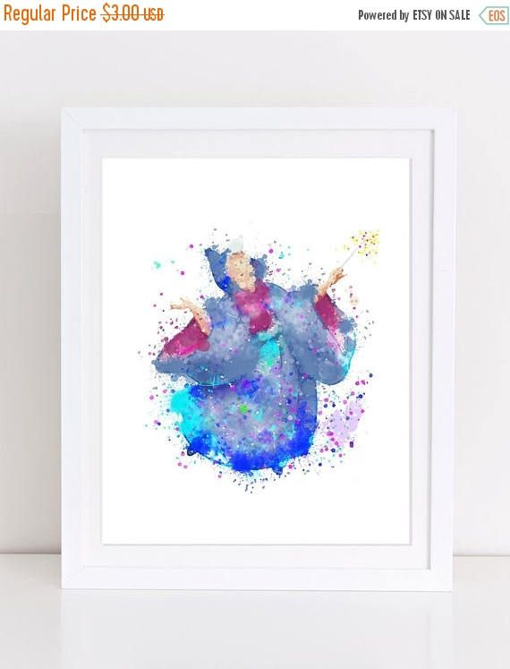 60%OFF Disney Fairy Godmother Poster Watercolor Disney Poster