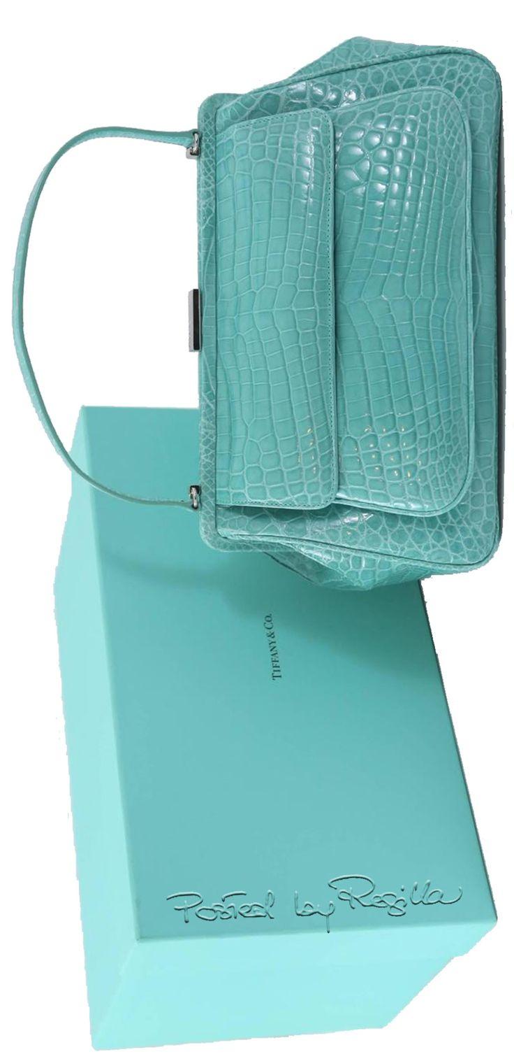 "Regilla ⚜ Tiffany & Co. ""Laurelton"" Crocodile Handbag in Tiffany Blue"
