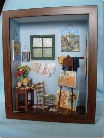 Casa miniatura en cuadro