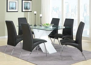 White Glass Dining Table w/ 6 Side Chairs,Coaster Furniture