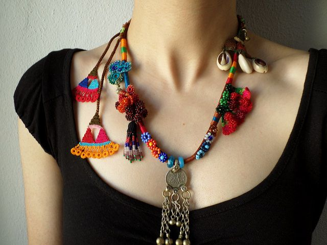 beaded crochet statement necklace - with orange, red, burg… | Flickr